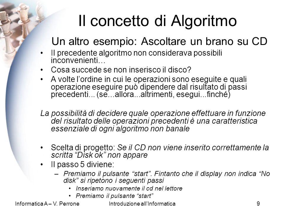 Il concetto di Algoritmo Un altro esempio: Ascoltare un brano su CD