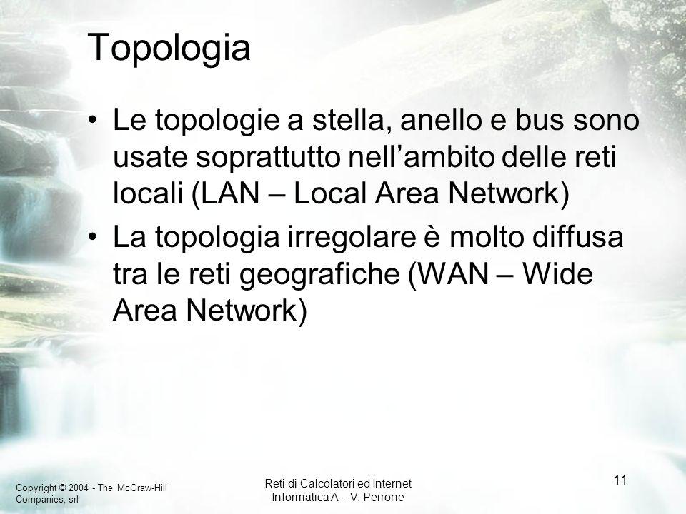 Topologia Le topologie a stella, anello e bus sono usate soprattutto nell'ambito delle reti locali (LAN – Local Area Network)