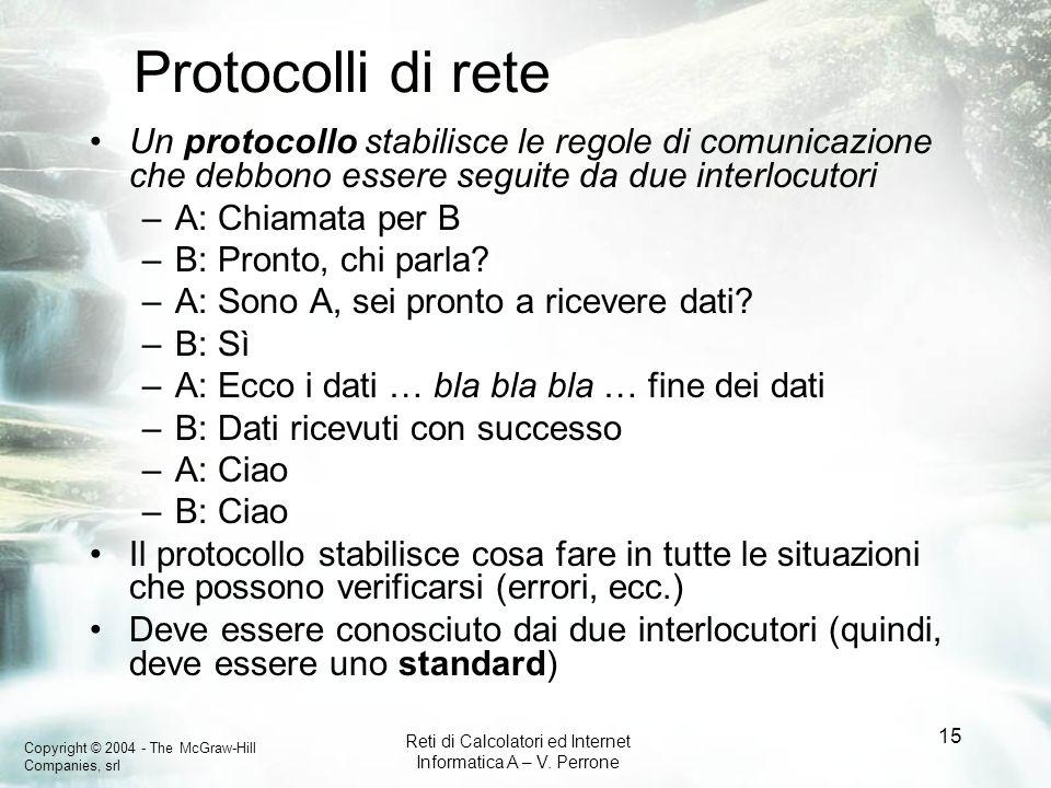 Protocolli di rete Un protocollo stabilisce le regole di comunicazione che debbono essere seguite da due interlocutori.
