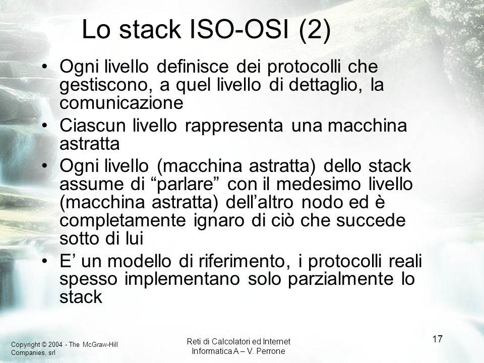 Lo stack ISO-OSI (2) Ogni livello definisce dei protocolli che gestiscono, a quel livello di dettaglio, la comunicazione.