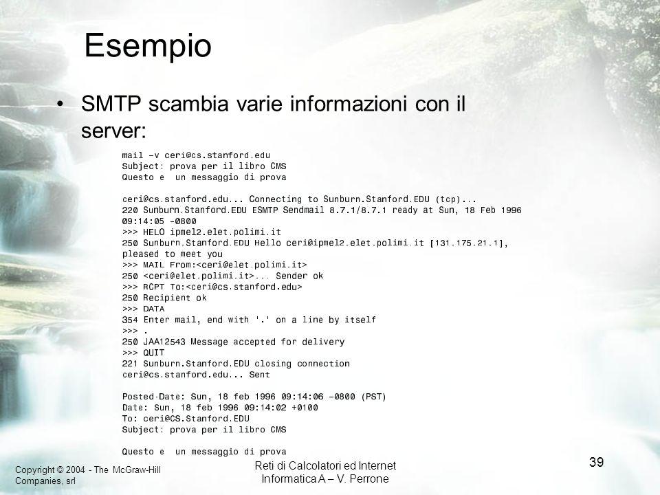 Esempio SMTP scambia varie informazioni con il server:
