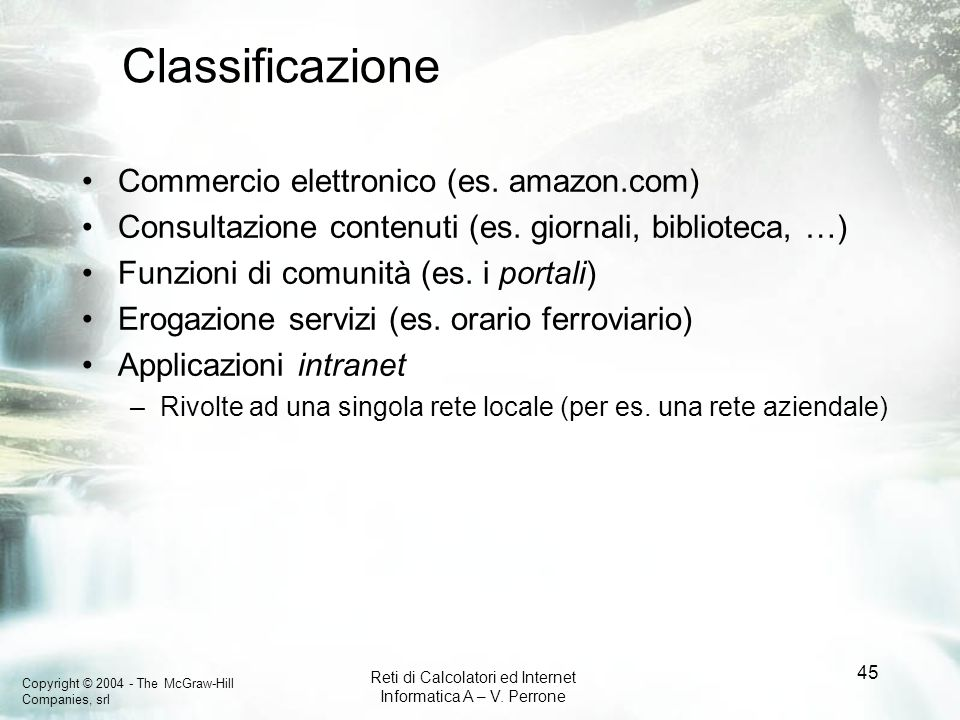 Classificazione Commercio elettronico (es. amazon.com)