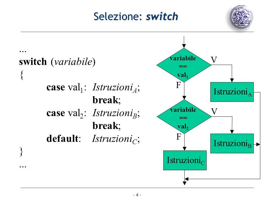 Selezione: switch variabile == val1. V. F. IstruzioniA. variabile == val2. IstruzioniB. IstruzioniC.