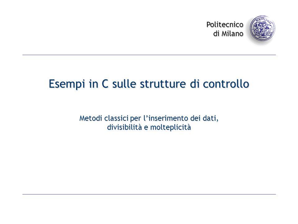 Esempi in C sulle strutture di controllo