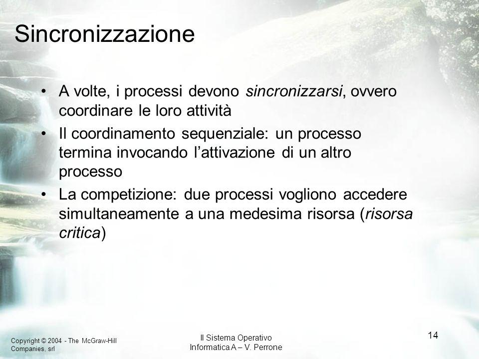 SincronizzazioneA volte, i processi devono sincronizzarsi, ovvero coordinare le loro attività.
