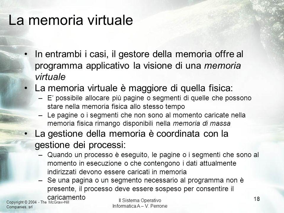 La memoria virtualeIn entrambi i casi, il gestore della memoria offre al programma applicativo la visione di una memoria virtuale.