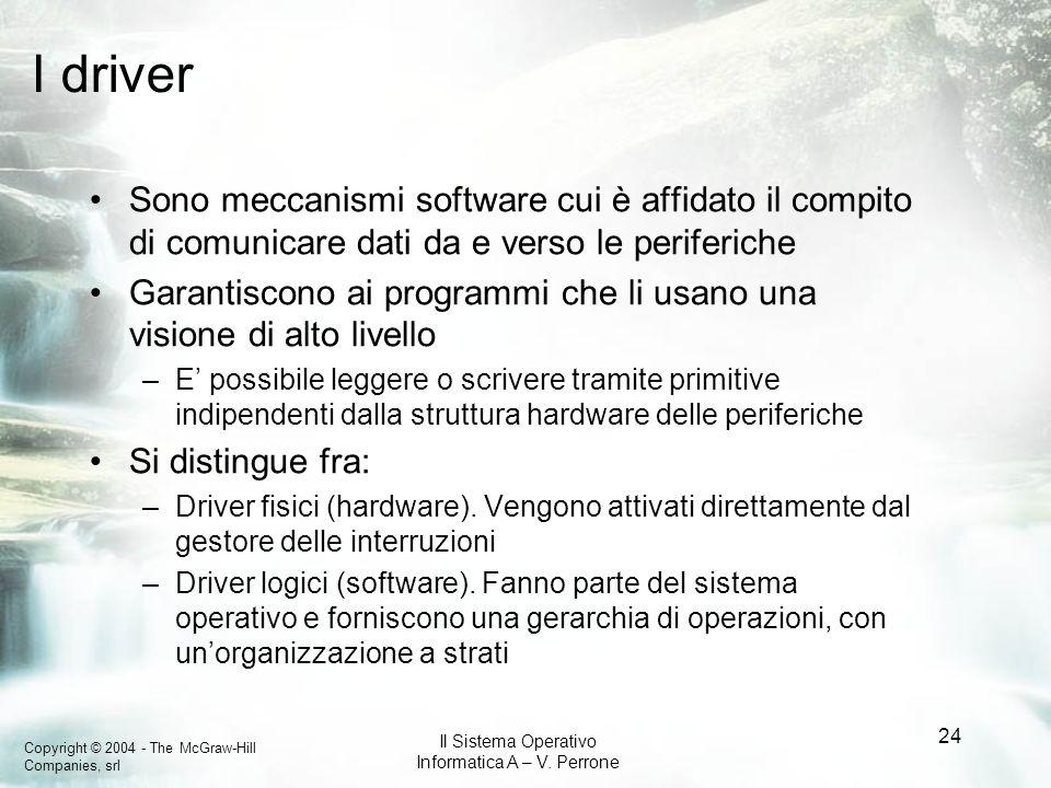 I driverSono meccanismi software cui è affidato il compito di comunicare dati da e verso le periferiche.
