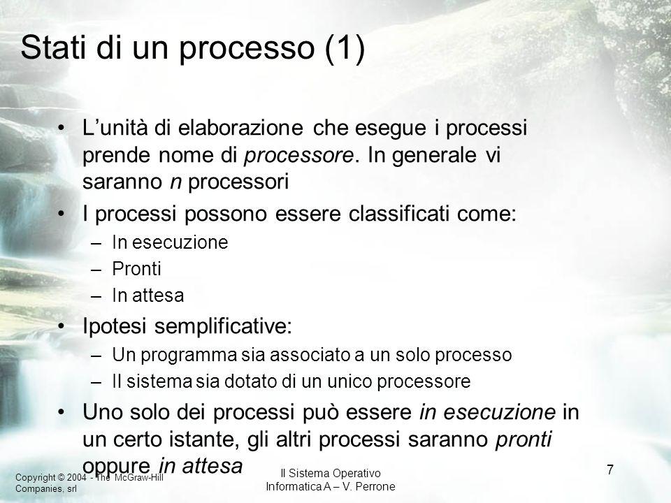 Stati di un processo (1)L'unità di elaborazione che esegue i processi prende nome di processore. In generale vi saranno n processori.