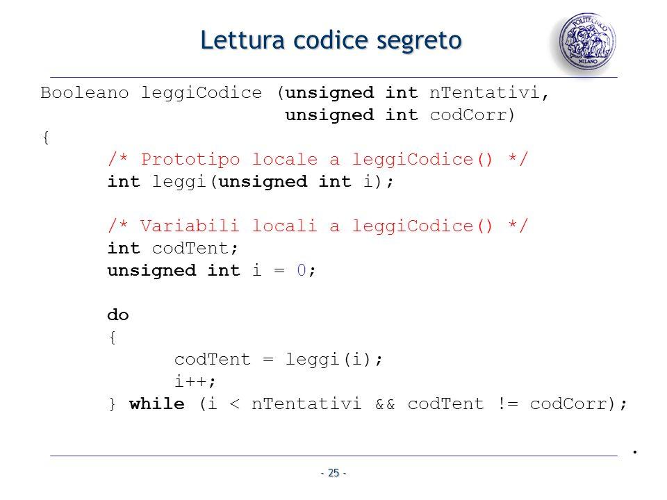 Lettura codice segreto