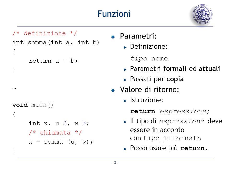 Funzioni Parametri: Valore di ritorno: Definizione: tipo nome