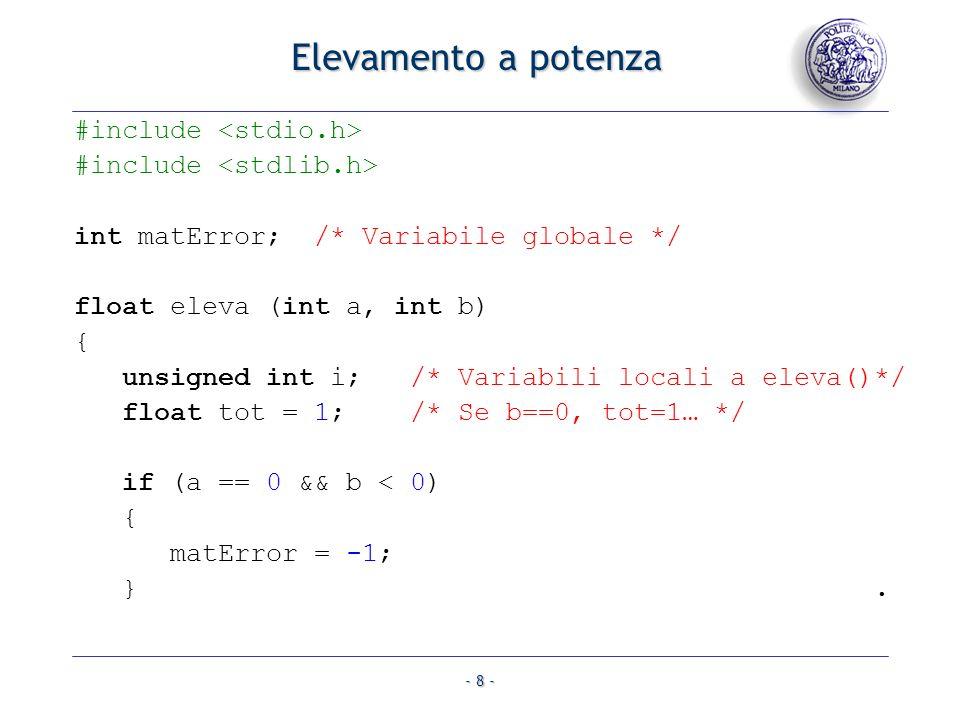 Elevamento a potenza #include <stdio.h>