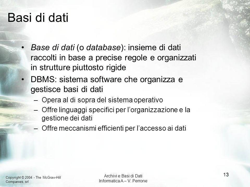 Basi di datiBase di dati (o database): insieme di dati raccolti in base a precise regole e organizzati in strutture piuttosto rigide.