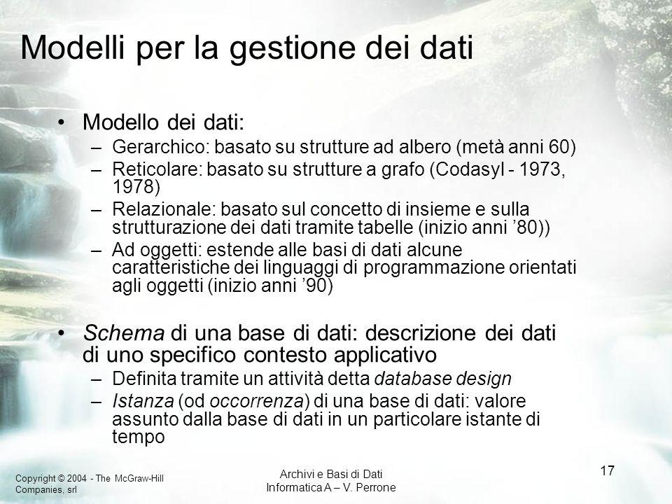 Modelli per la gestione dei dati