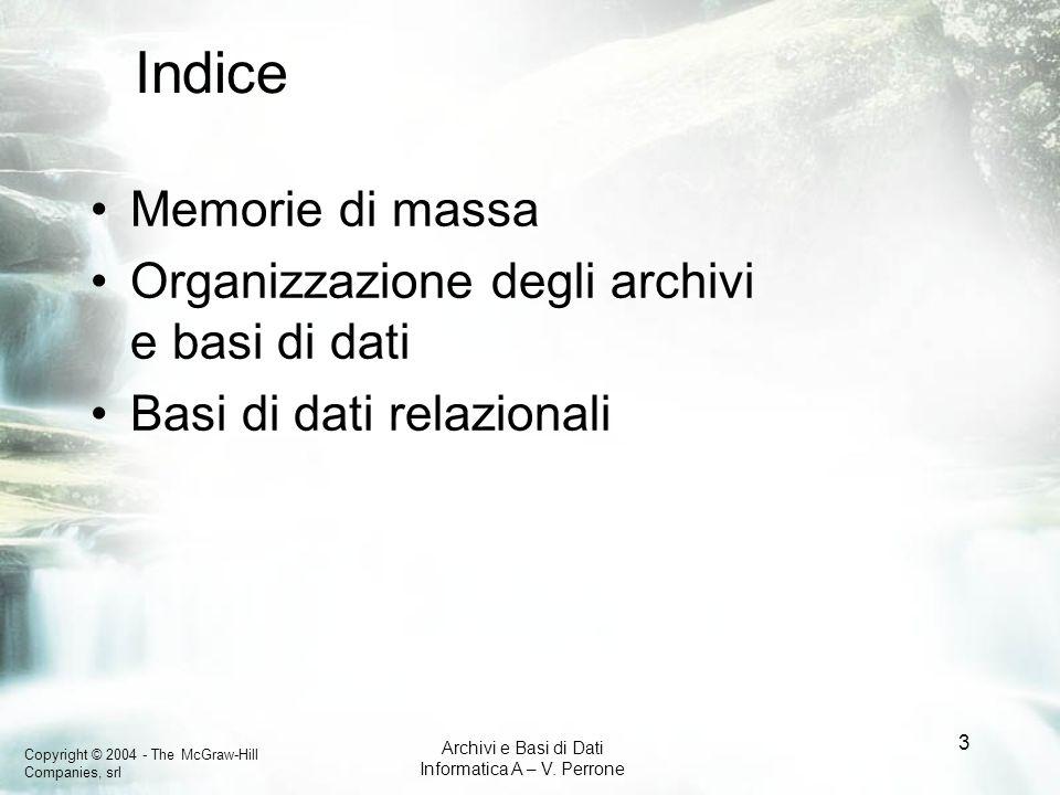 Indice Memorie di massa Organizzazione degli archivi e basi di dati