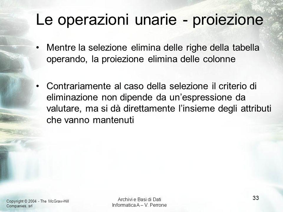 Le operazioni unarie - proiezione