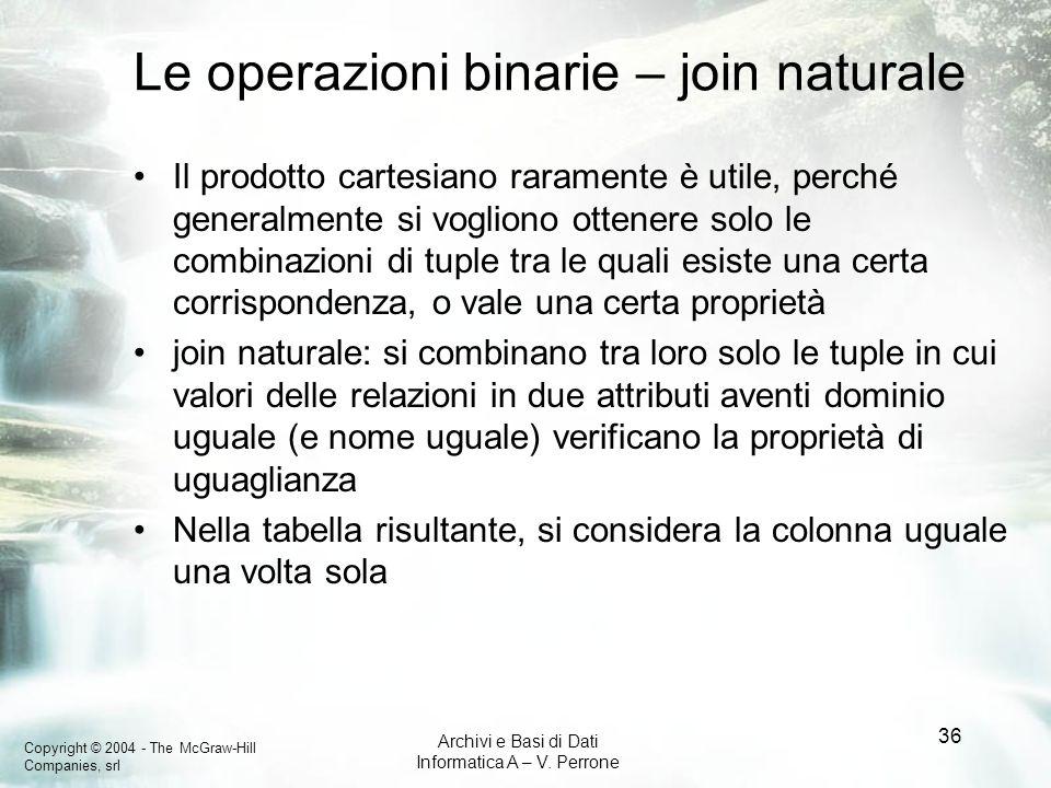 Le operazioni binarie – join naturale