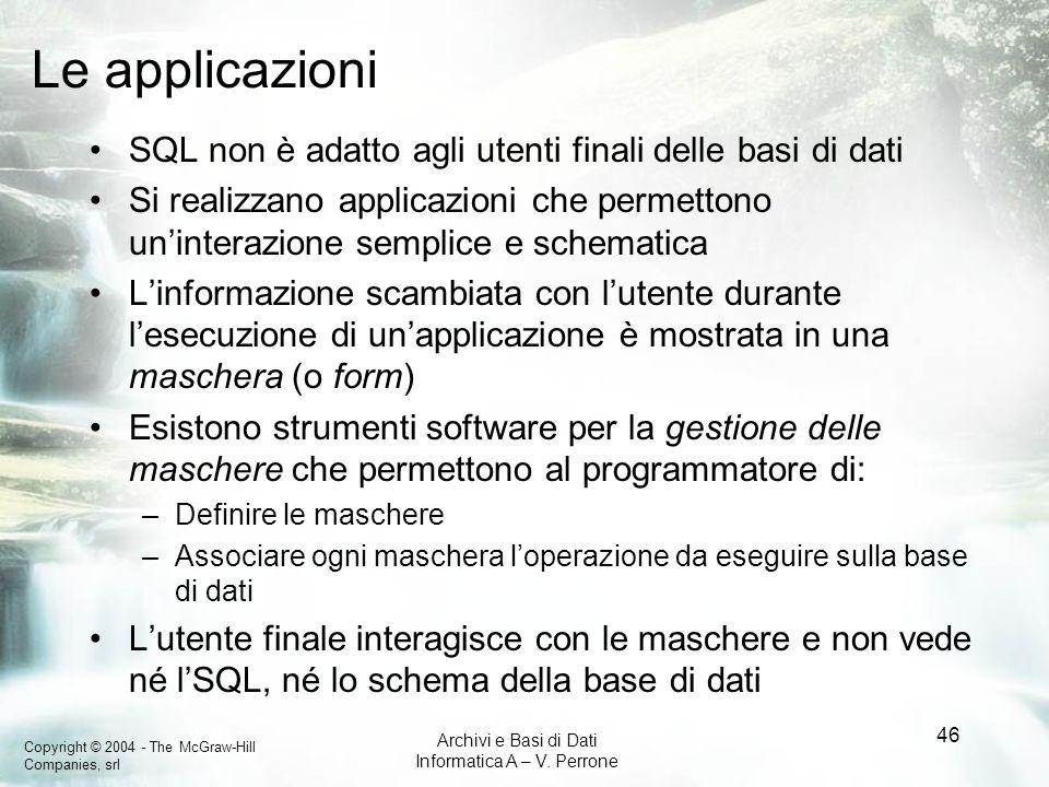 Le applicazioni SQL non è adatto agli utenti finali delle basi di dati