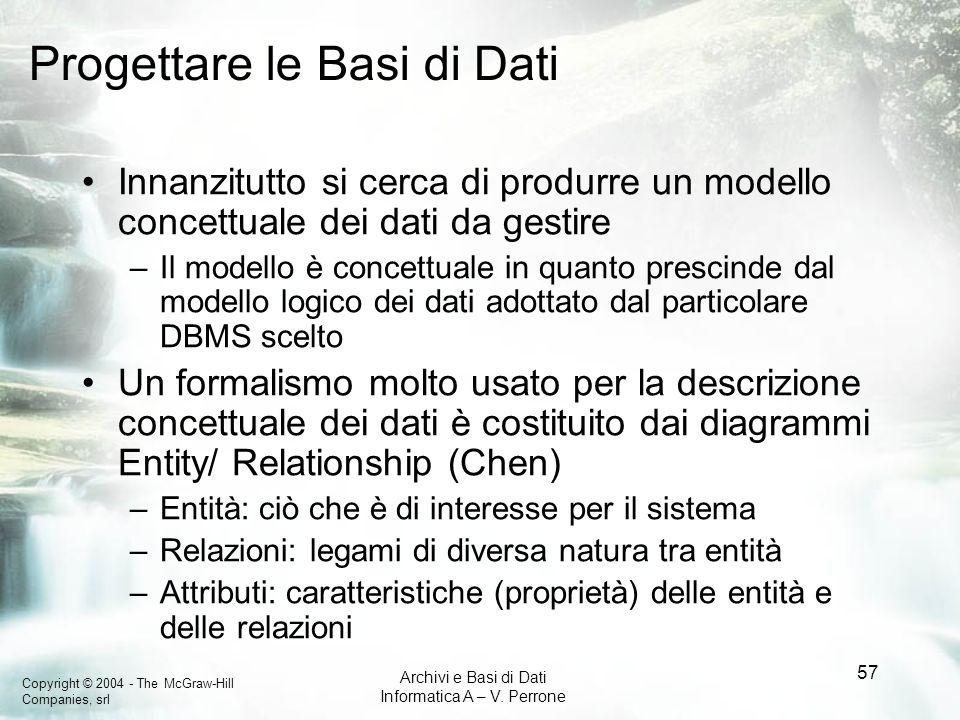 Progettare le Basi di Dati