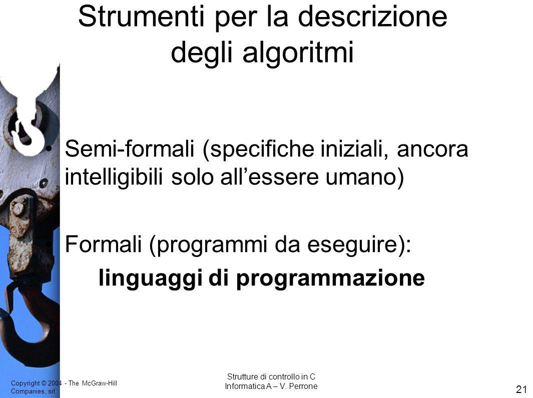 Strumenti per la descrizione degli algoritmi