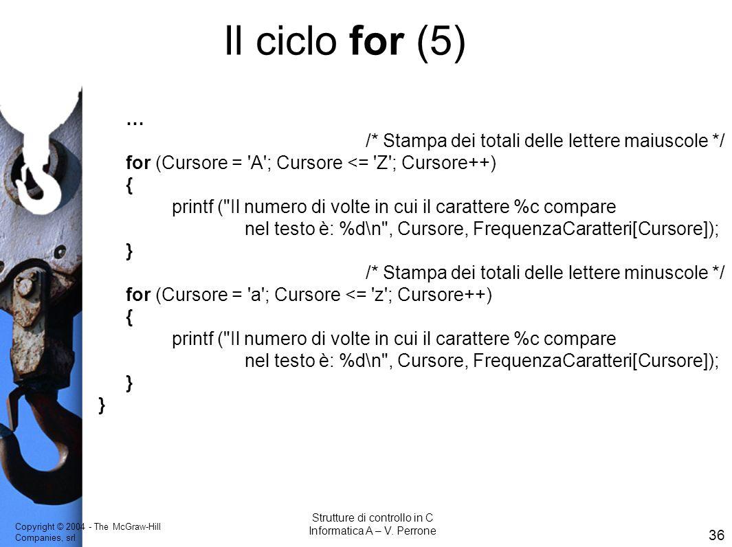 Il ciclo for (5) … /* Stampa dei totali delle lettere maiuscole */