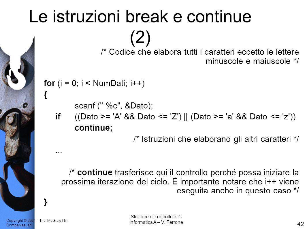 Le istruzioni break e continue (2)