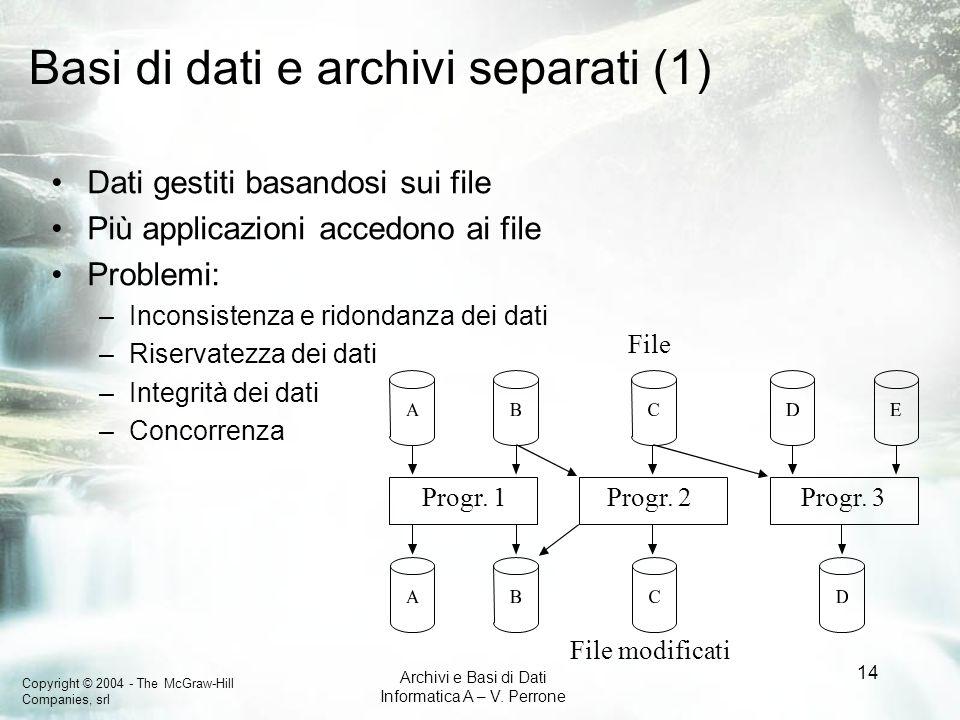 Basi di dati e archivi separati (1)