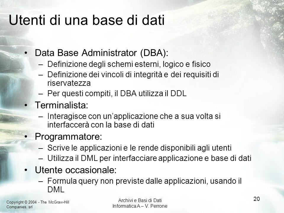 Utenti di una base di dati
