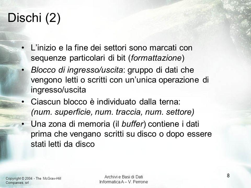 Dischi (2) L'inizio e la fine dei settori sono marcati con sequenze particolari di bit (formattazione)