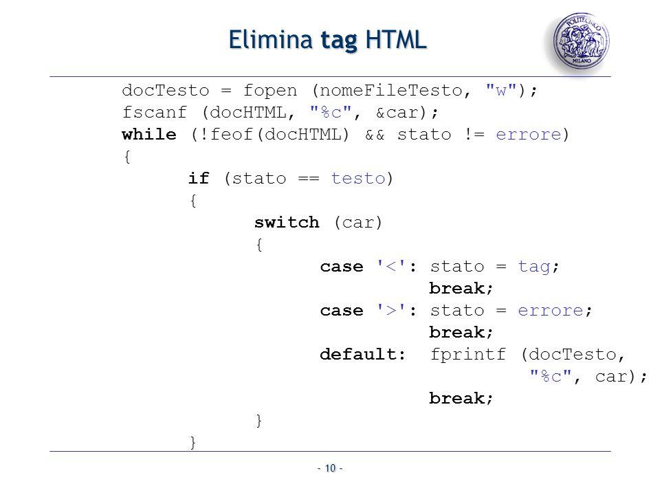 Elimina tag HTML docTesto = fopen (nomeFileTesto, w );