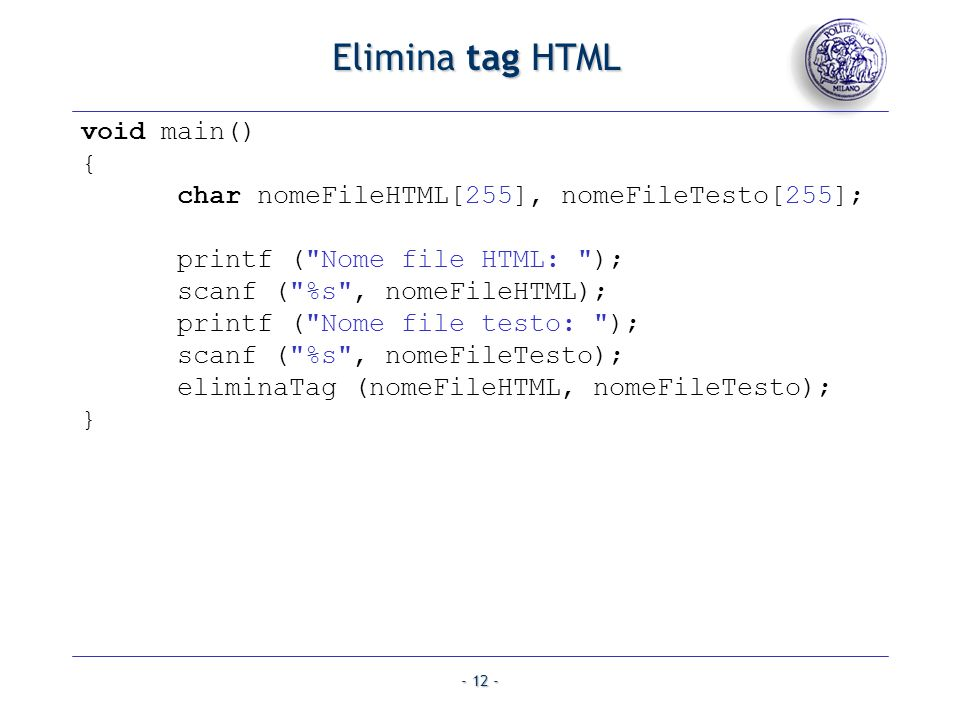Elimina tag HTML void main() {