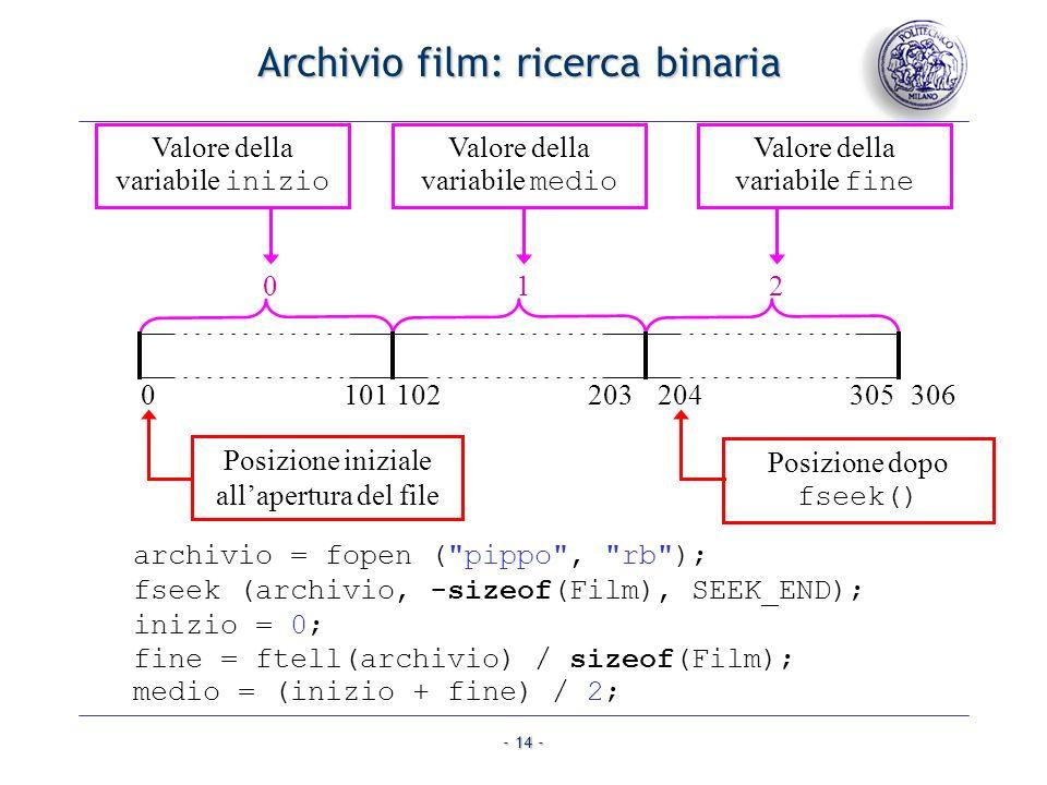 Archivio film: ricerca binaria