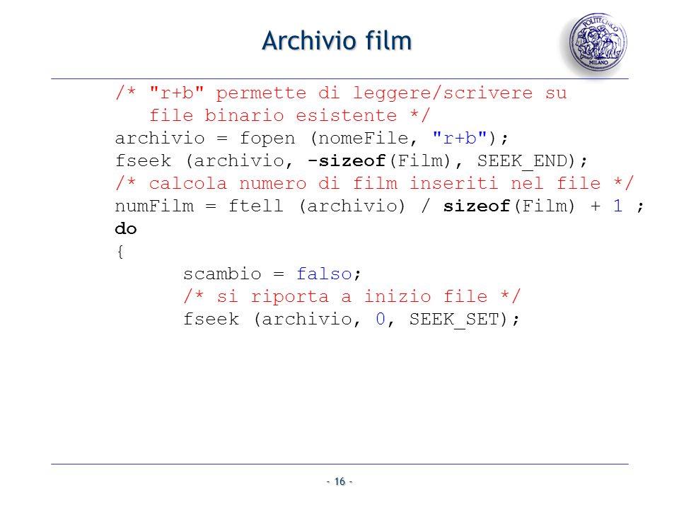 Archivio film /* r+b permette di leggere/scrivere su