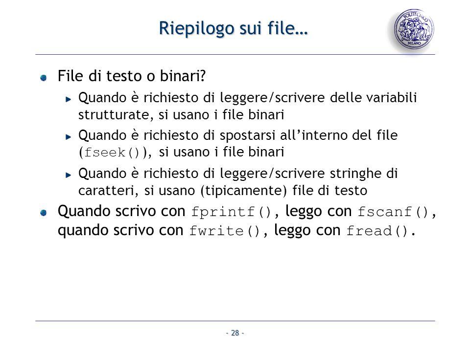 Riepilogo sui file… File di testo o binari