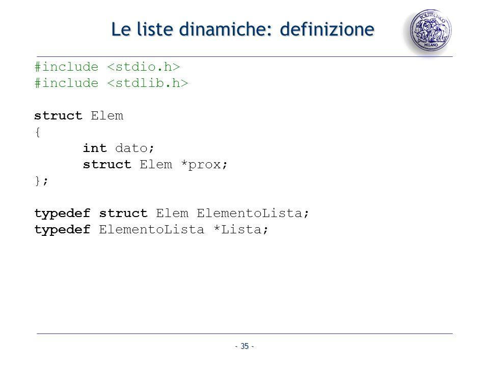 Le liste dinamiche: definizione