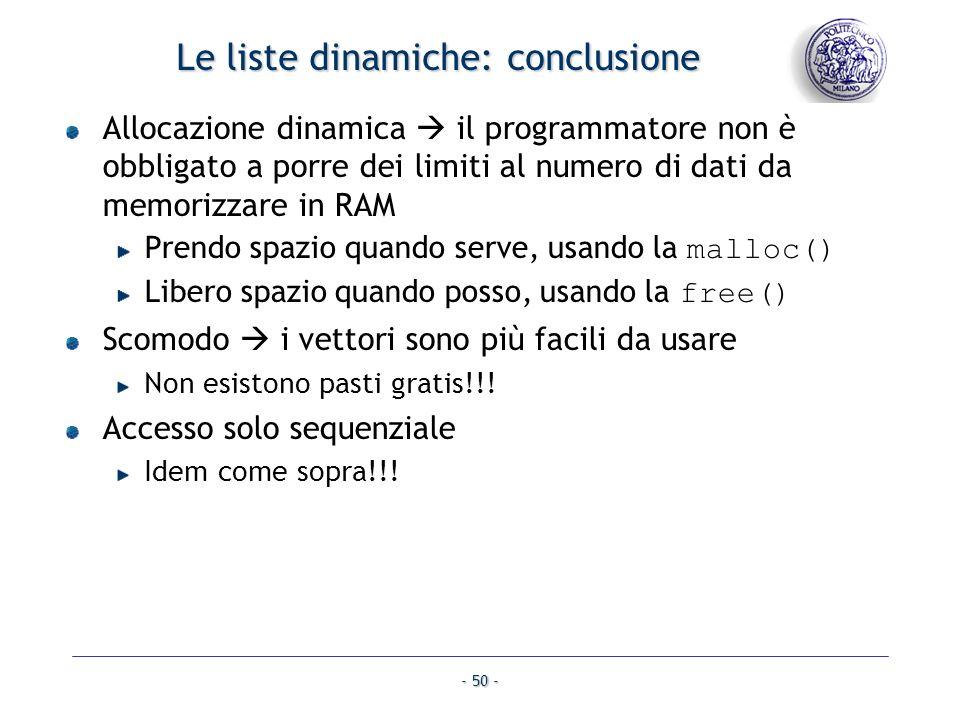 Le liste dinamiche: conclusione