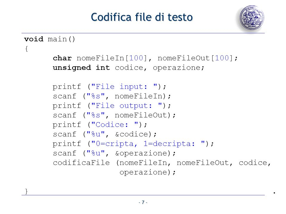 Codifica file di testo void main() {