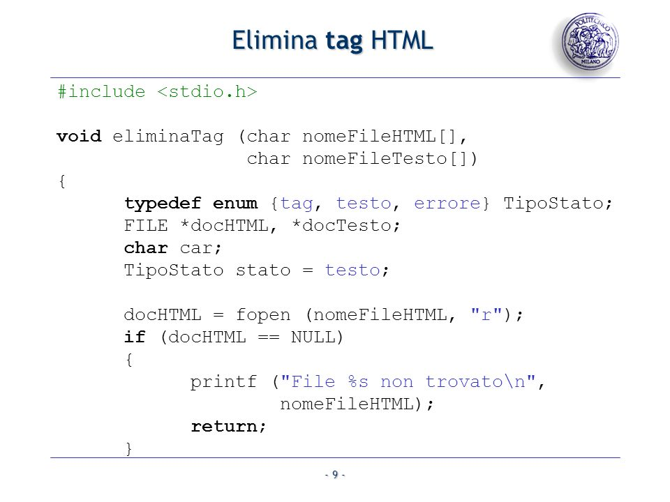 Elimina tag HTML #include <stdio.h>