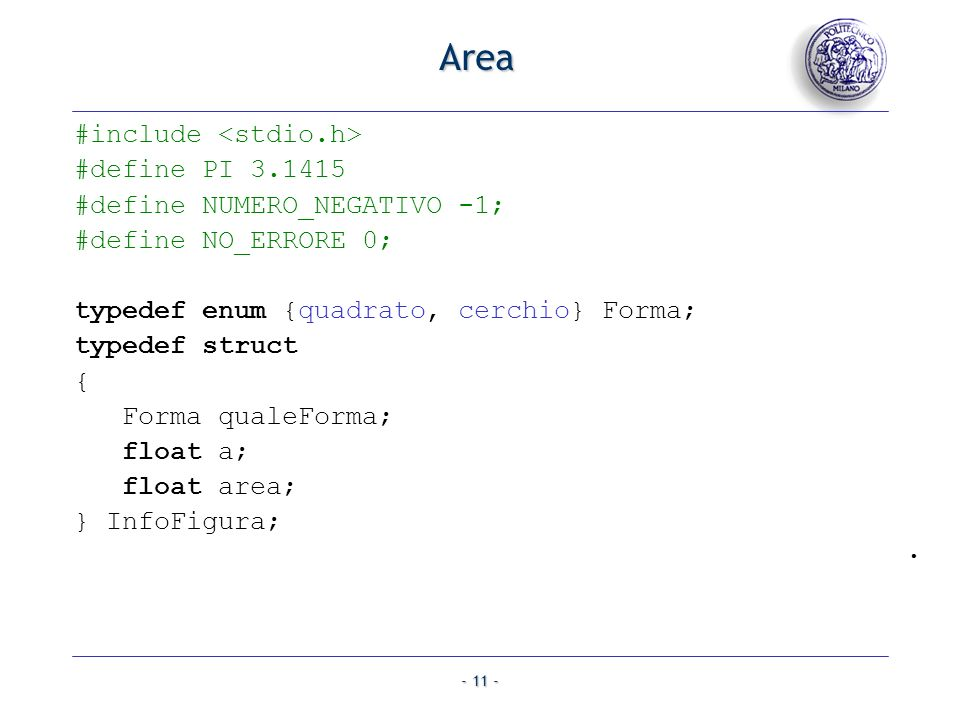 Area #include <stdio.h> #define PI 3.1415