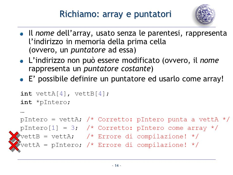 Richiamo: array e puntatori