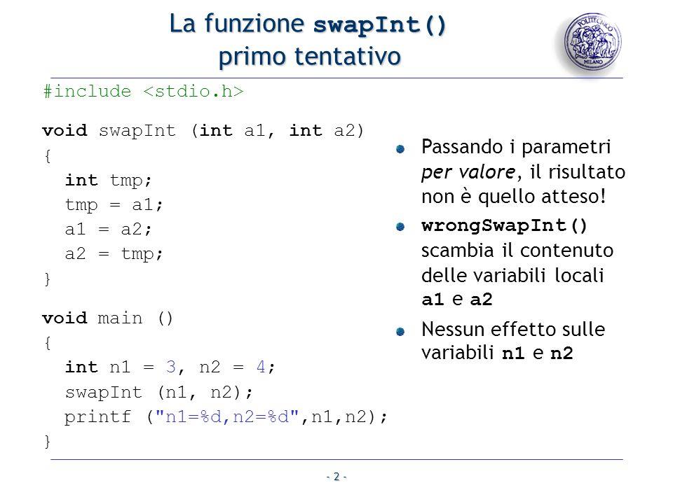 La funzione swapInt() primo tentativo
