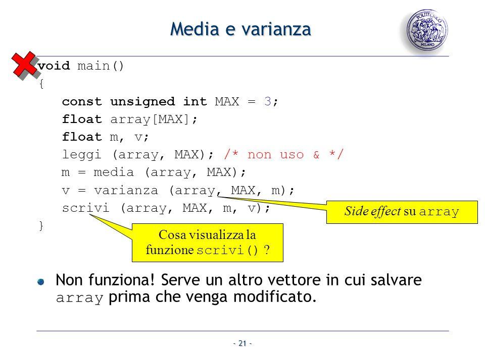 Cosa visualizza la funzione scrivi()