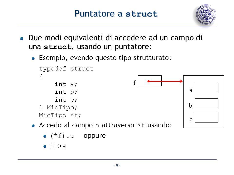 Puntatore a struct Due modi equivalenti di accedere ad un campo di una struct, usando un puntatore: