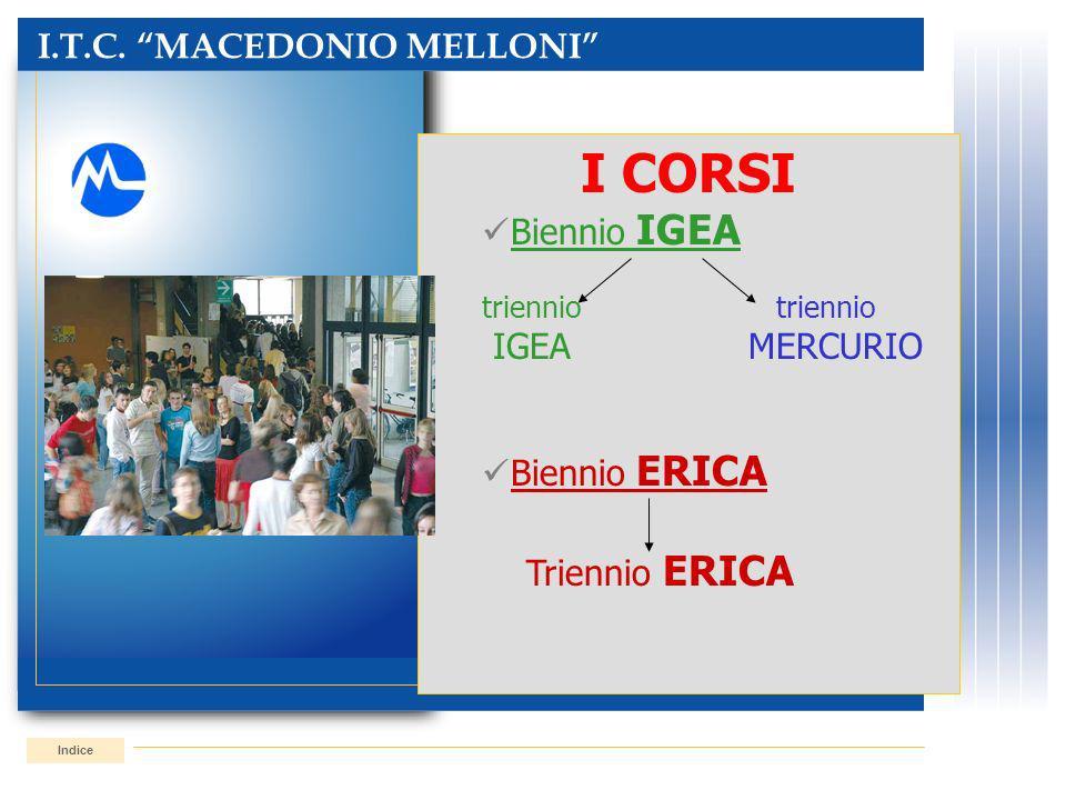 I CORSI I.T.C. MACEDONIO MELLONI Biennio IGEA IGEA MERCURIO