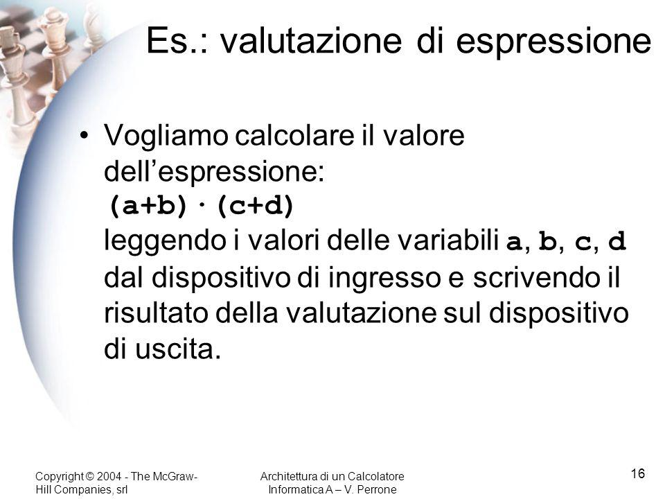 Es.: valutazione di espressione