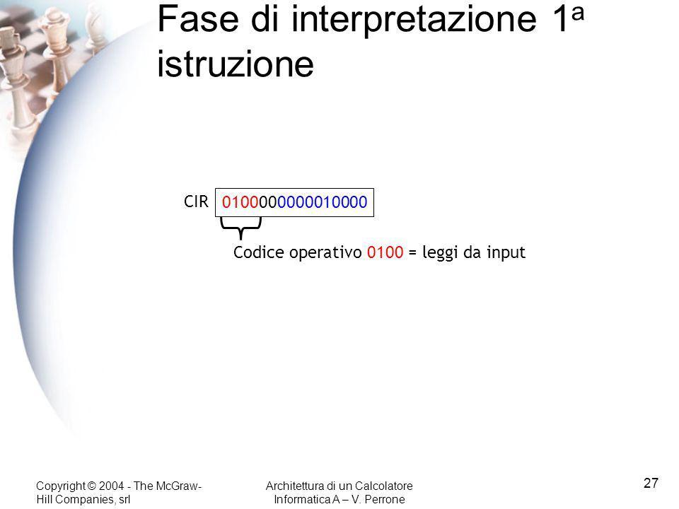 Fase di interpretazione 1a istruzione