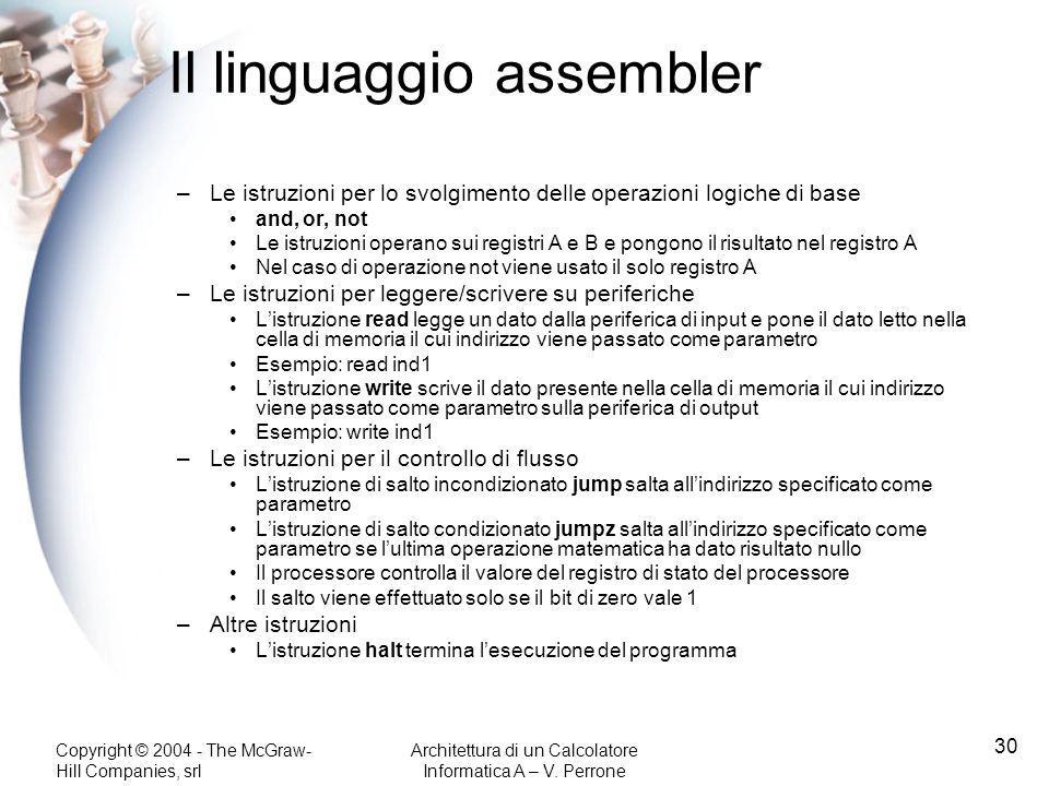 Il linguaggio assembler