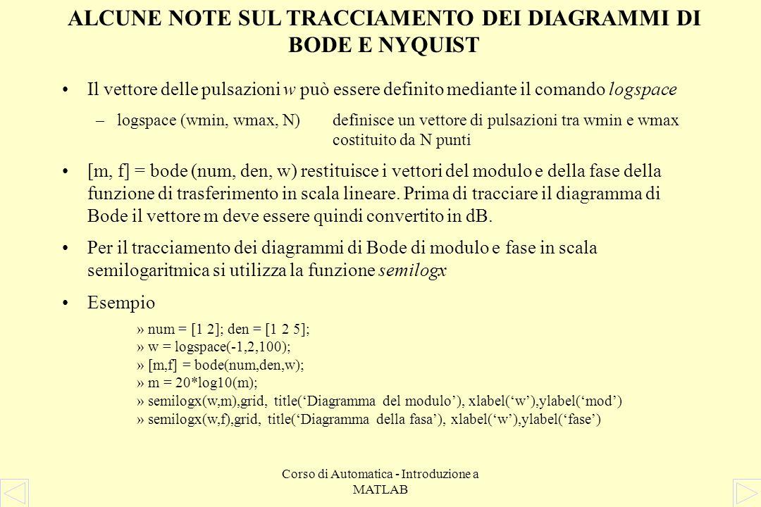 ALCUNE NOTE SUL TRACCIAMENTO DEI DIAGRAMMI DI BODE E NYQUIST