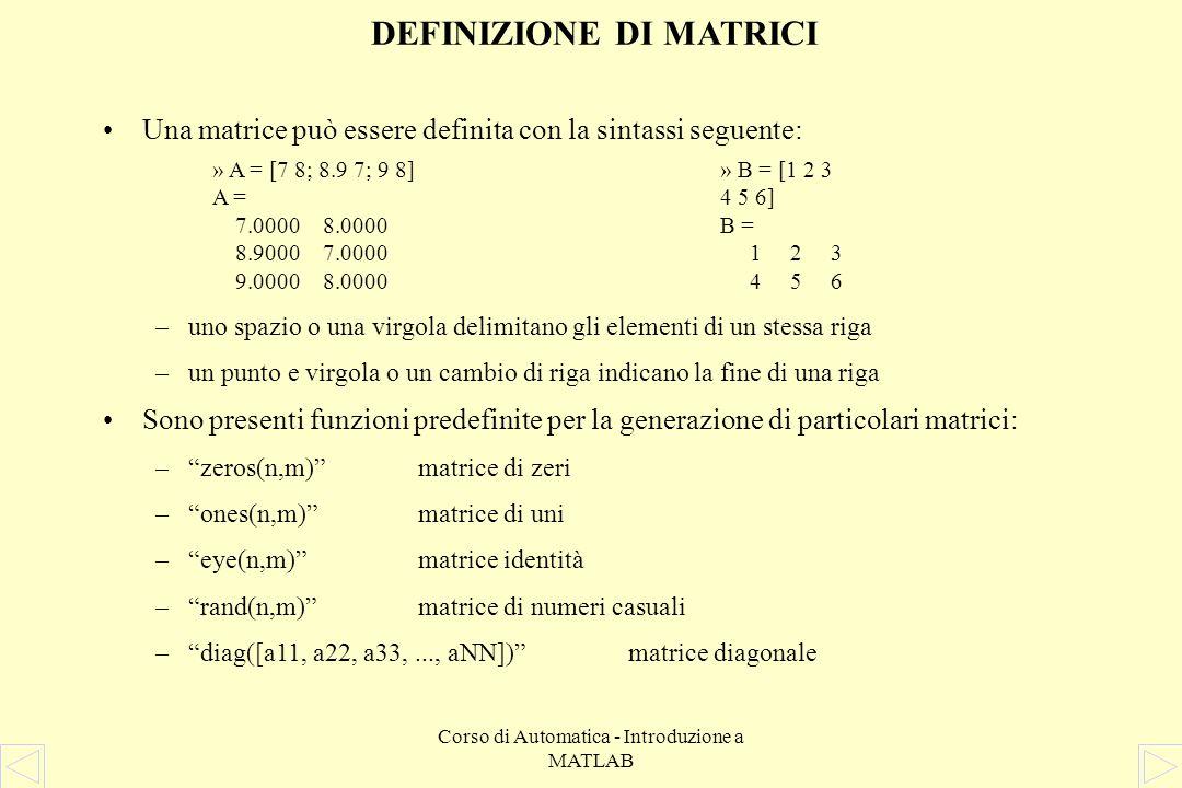 DEFINIZIONE DI MATRICI