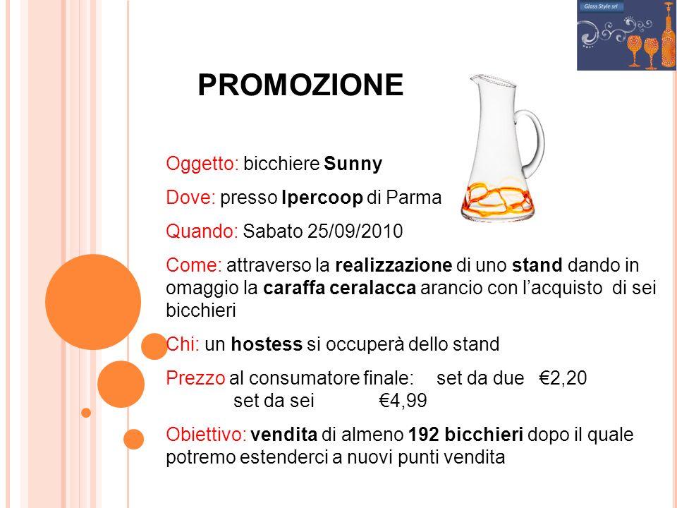 PROMOZIONE Oggetto: bicchiere Sunny Dove: presso Ipercoop di Parma