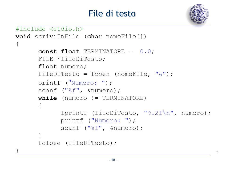 File di testo #include <stdio.h>
